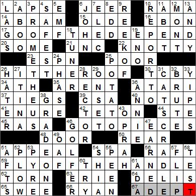 LA Times Crossword Answers 30 Apr 14, Wednesday