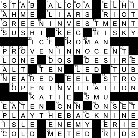 Stock options eg crossword clue