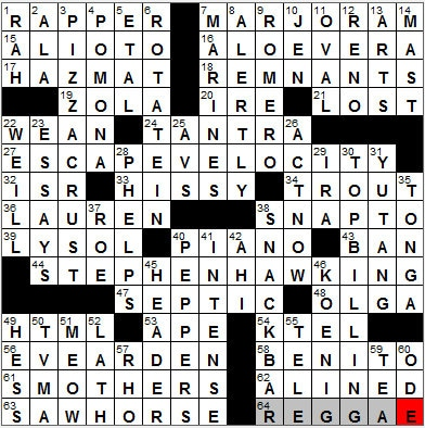 LA Times Crossword Answers 29 Sep 12, Saturday