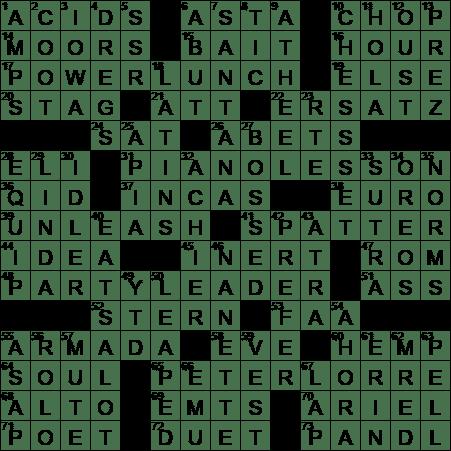 La Times Crossword Answers  Monday