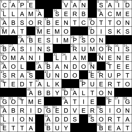La Times Crossword Answers 2 May 17 Tuesday