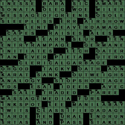 Peace lover crossword clue