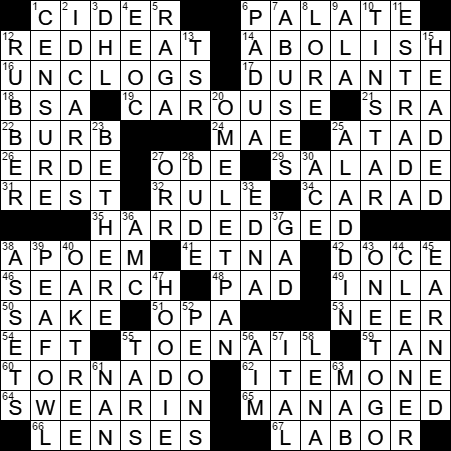 Angry orchard product crossword clue archives laxcrossword la times crossword answers 29 jun 17 thursday m4hsunfo