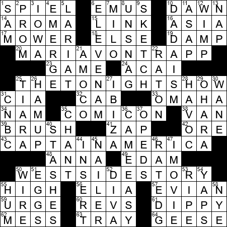 LA Times Crossword Answers 26 Sep 2017 Tuesday