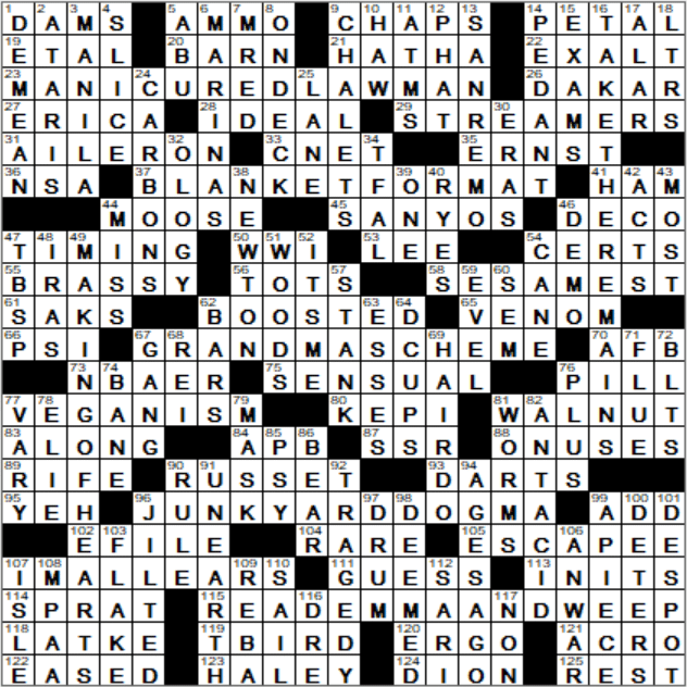 Haughty type crossword clue