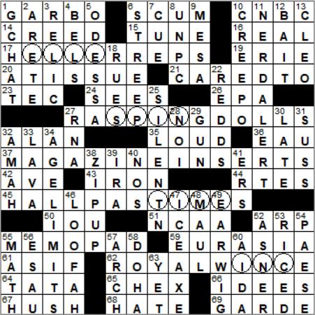 Talks Anna Christie Tagline Crossword Clue Archives Laxcrossword Com
