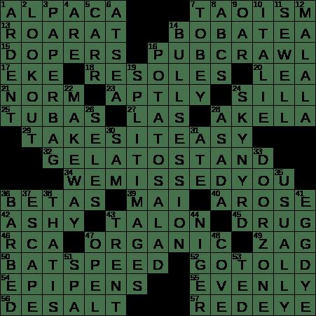 La Times Crossword 22 Dec 18 Saturday Laxcrossword Com