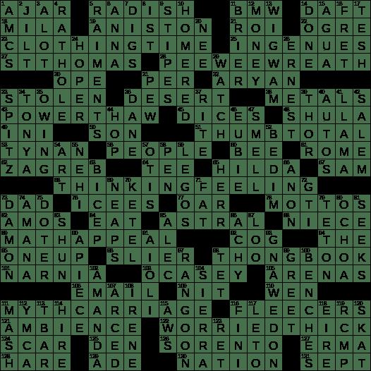 La Times Crossword 30 Dec 18 Sunday