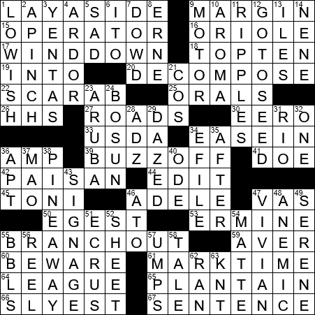 La Times Crossword 3 Jan 19 Thursday Laxcrossword Com